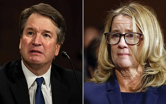 Judge Kavanaugh and Christine Ford during testimony of accusations